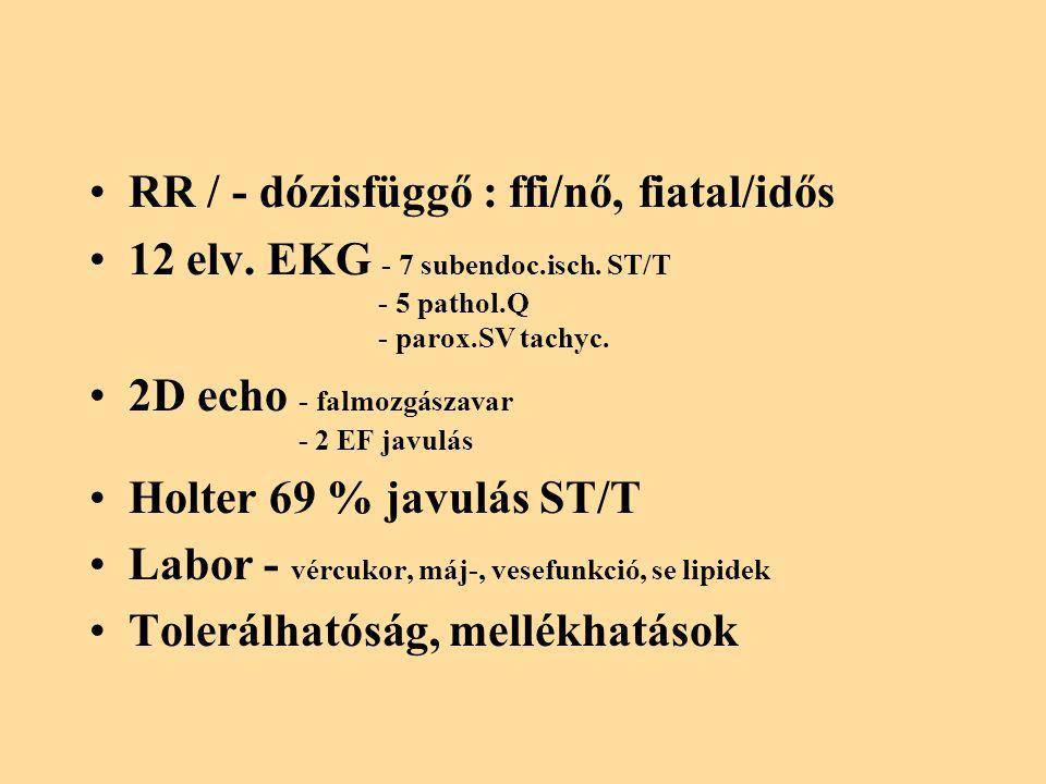 RR / - dózisfüggő : ffi/nő, fiatal/idős