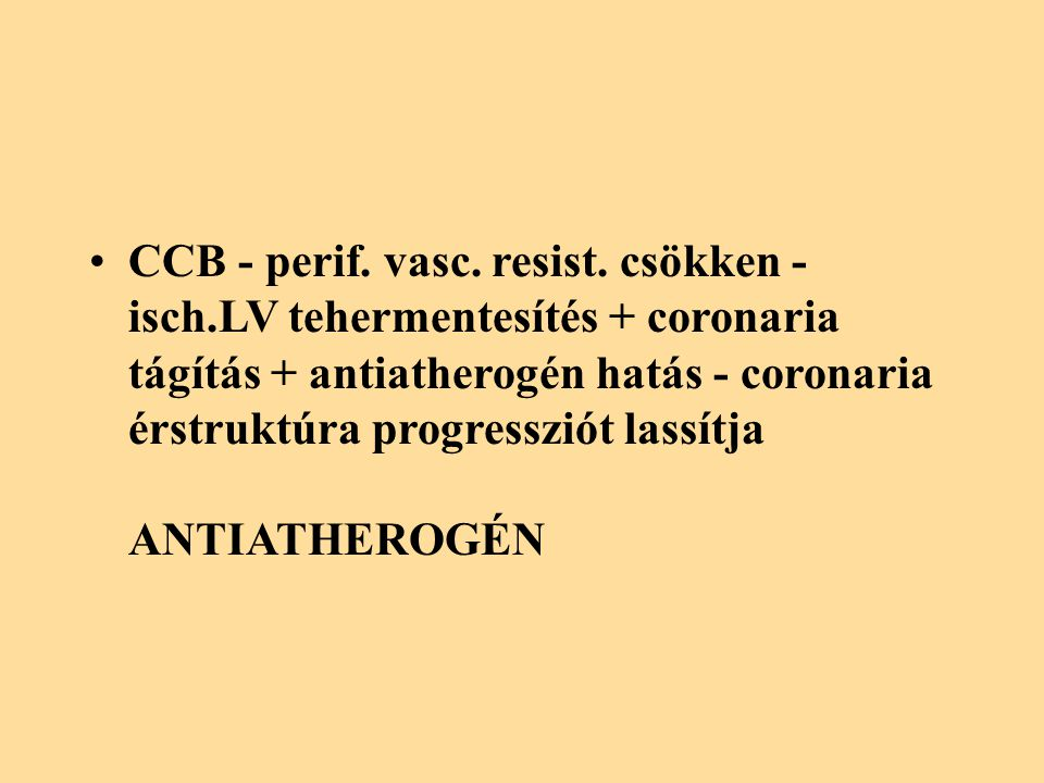 CCB - perif. vasc. resist. csökken - isch