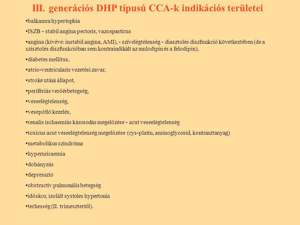 III. generációs DHP típusú CCA-k indikációs területei
