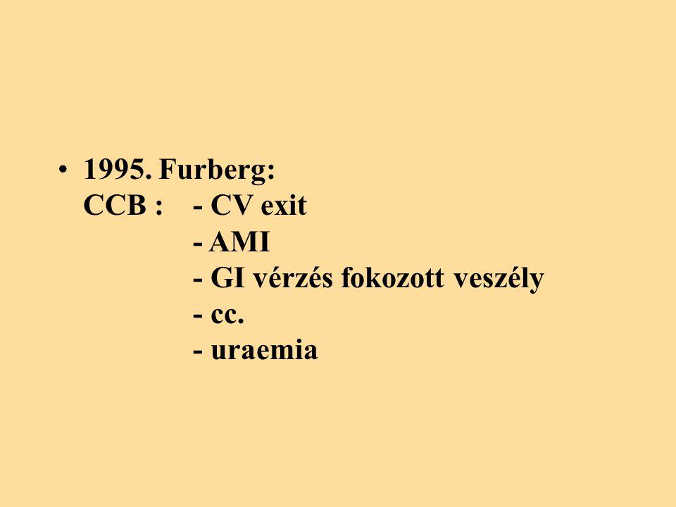 1995. Furberg: CCB :. - CV exit. - AMI. - GI vérzés fokozott veszély