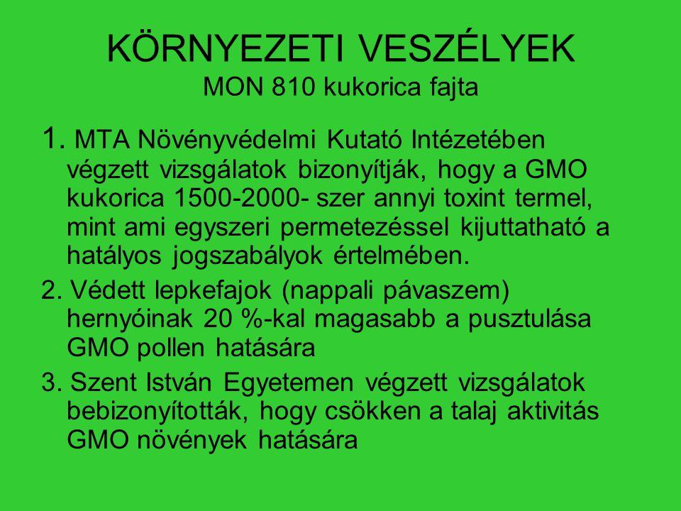 KÖRNYEZETI VESZÉLYEK MON 810 kukorica fajta