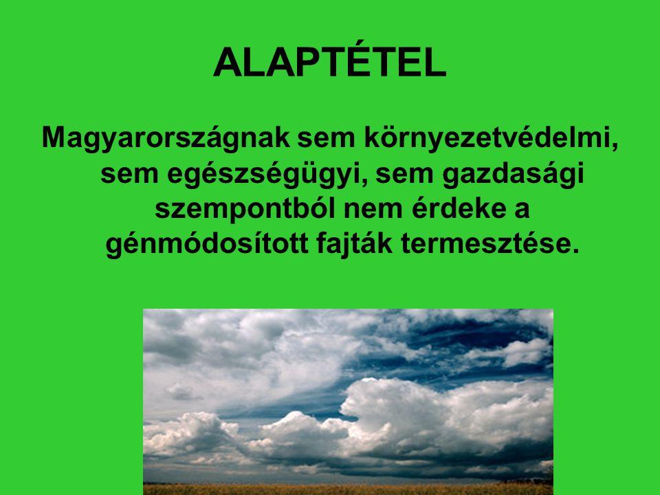 ALAPTÉTEL Magyarországnak sem környezetvédelmi, sem egészségügyi, sem gazdasági szempontból nem érdeke a génmódosított fajták termesztése.