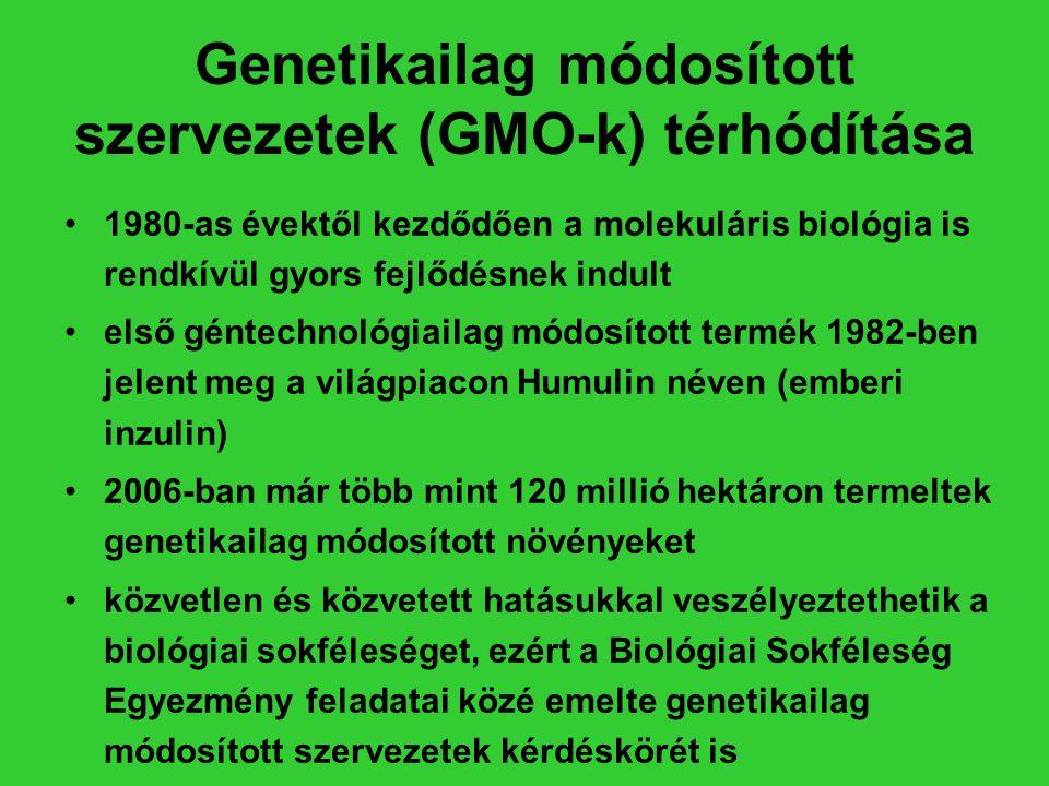 Genetikailag módosított szervezetek (GMO-k) térhódítása