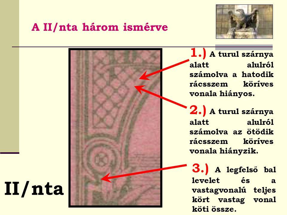 A II/nta három ismérve 1.) A turul szárnya alatt alulról számolva a hatodik rácsszem köríves vonala hiányos.