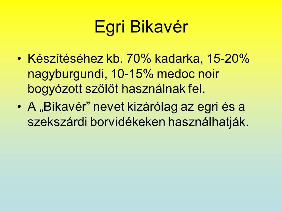 Egri Bikavér Készítéséhez kb. 70% kadarka, 15-20% nagyburgundi, 10-15% medoc noir bogyózott szőlőt használnak fel.