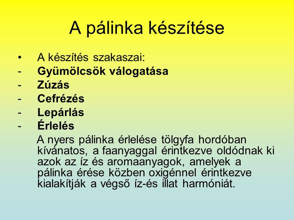 A pálinka készítése A készítés szakaszai: Gyümölcsök válogatása Zúzás