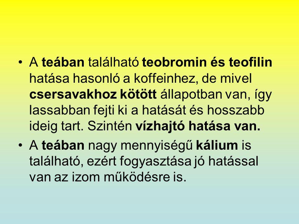 A teában található teobromin és teofilin hatása hasonló a koffeinhez, de mivel csersavakhoz kötött állapotban van, így lassabban fejti ki a hatását és hosszabb ideig tart. Szintén vízhajtó hatása van.