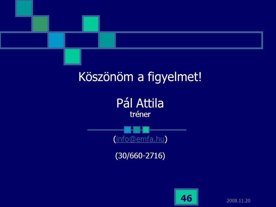 Köszönöm a figyelmet! Pál Attila tréner (info@emfa.hu) (30/660-2716)