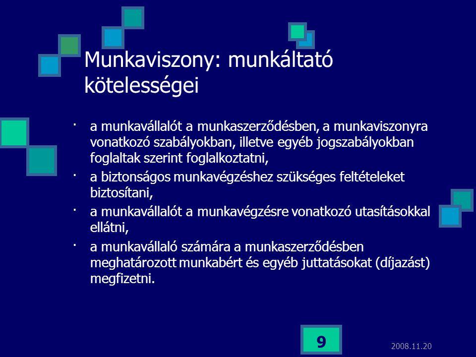 Munkaviszony: munkáltató kötelességei