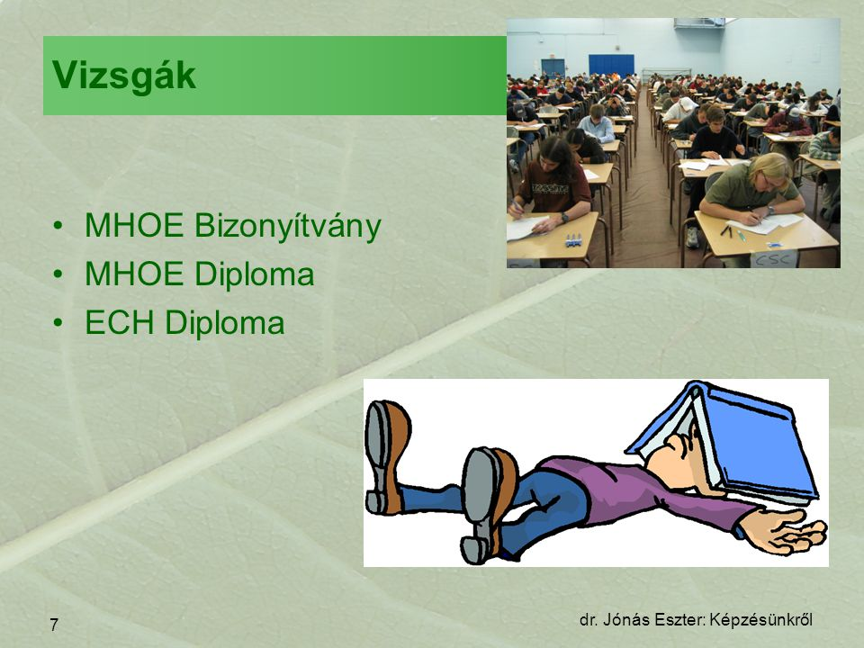 Vizsgák MHOE Bizonyítvány MHOE Diploma ECH Diploma