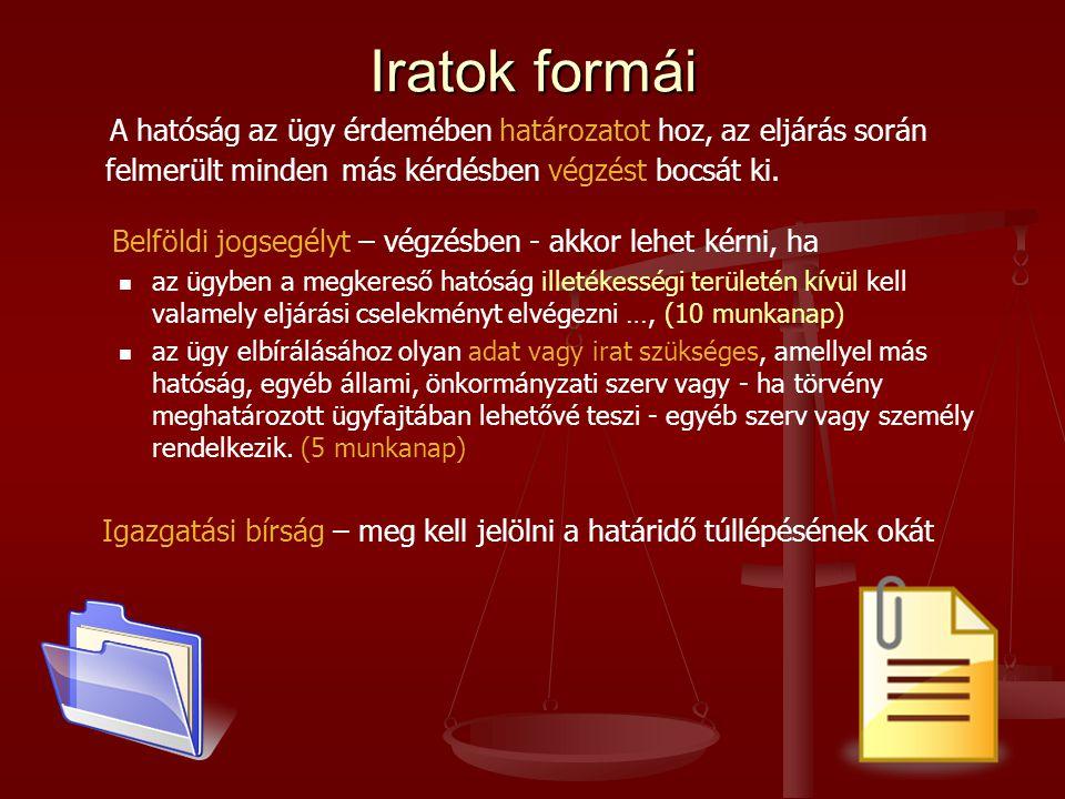 Iratok formái A hatóság az ügy érdemében határozatot hoz, az eljárás során felmerült minden más kérdésben végzést bocsát ki.