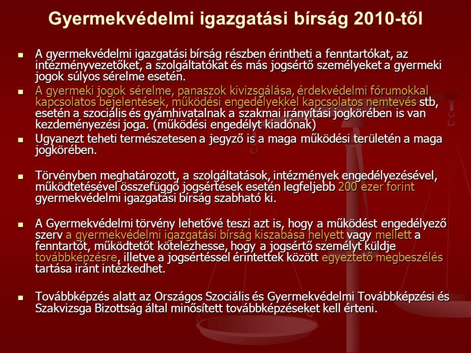 Gyermekvédelmi igazgatási bírság 2010-től