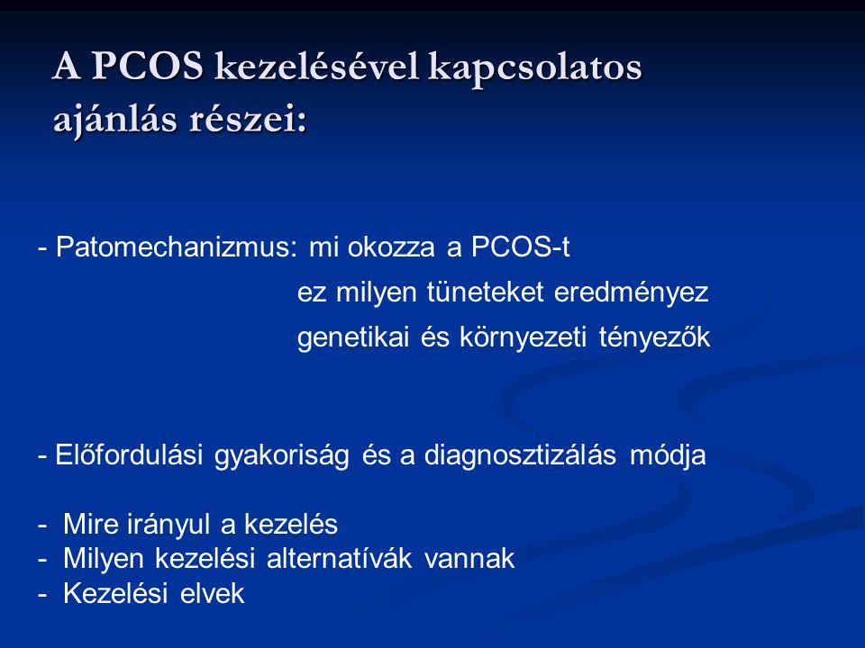 A PCOS kezelésével kapcsolatos ajánlás részei: