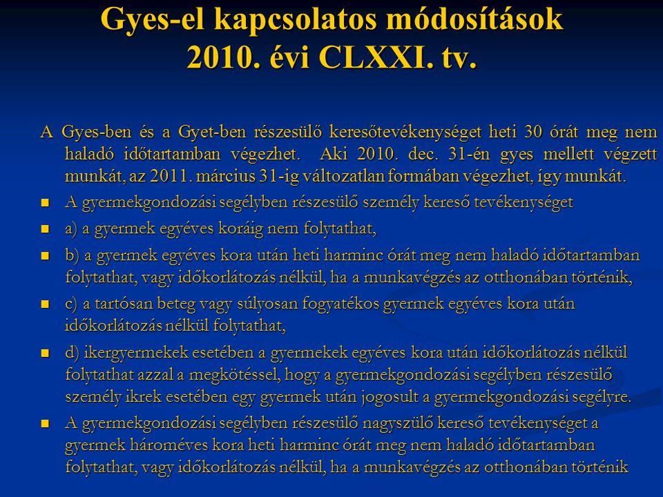 Gyes-el kapcsolatos módosítások 2010. évi CLXXI. tv.