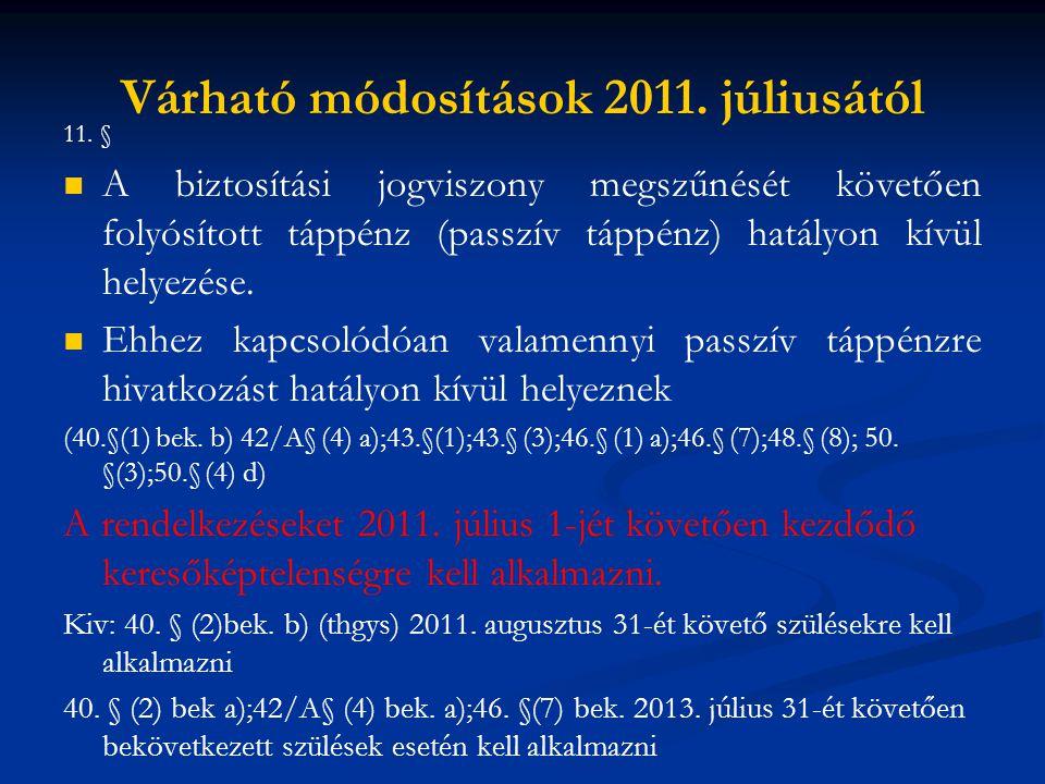 Várható módosítások 2011. júliusától