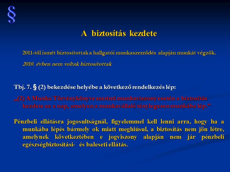 A biztosítás kezdete 2011-től ismét biztosítottak a hallgatói munkaszerződés alapján munkát végzők.