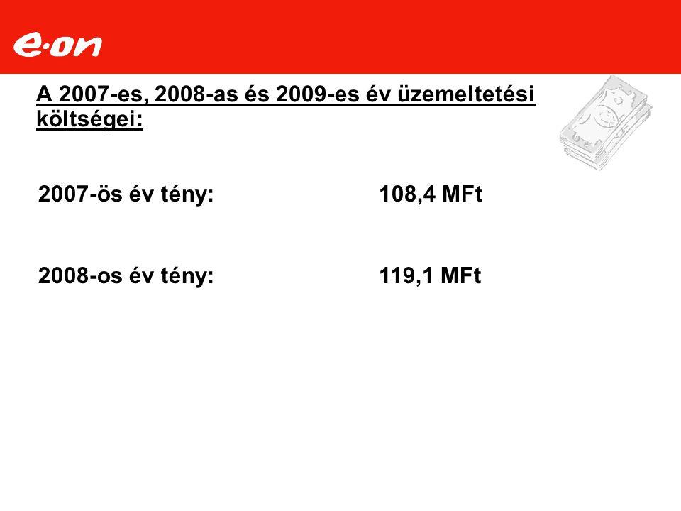 A 2007-es, 2008-as és 2009-es év üzemeltetési költségei: