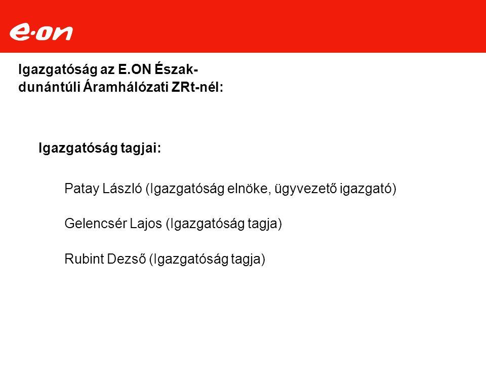 Igazgatóság az E.ON Észak-dunántúli Áramhálózati ZRt-nél: