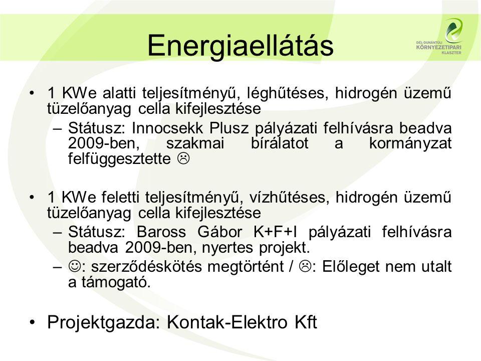 Energiaellátás Projektgazda: Kontak-Elektro Kft