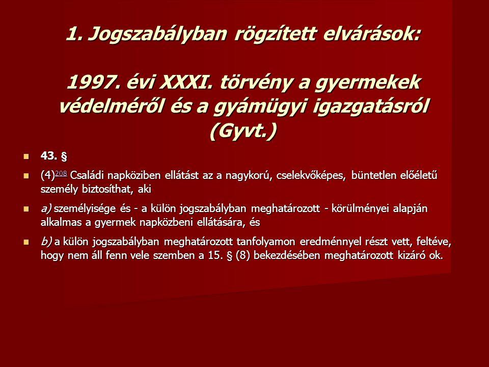 1. Jogszabályban rögzített elvárások: 1997. évi XXXI