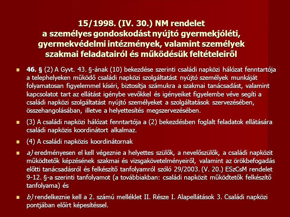 15/1998. (IV. 30.) NM rendelet a személyes gondoskodást nyújtó gyermekjóléti, gyermekvédelmi intézmények, valamint személyek szakmai feladatairól és működésük feltételeiről