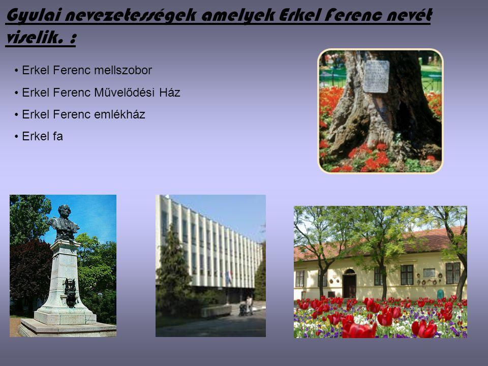 Gyulai nevezetességek amelyek Erkel Ferenc nevét viselik. :