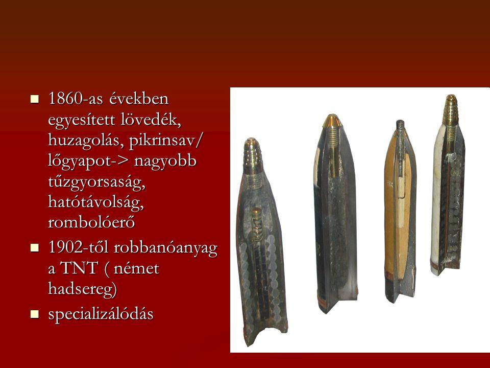 1860-as években egyesített lövedék, huzagolás, pikrinsav/ lőgyapot-> nagyobb tűzgyorsaság, hatótávolság, rombolóerő