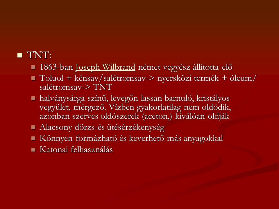 TNT: 1863-ban Joseph Wilbrand német vegyész állította elő