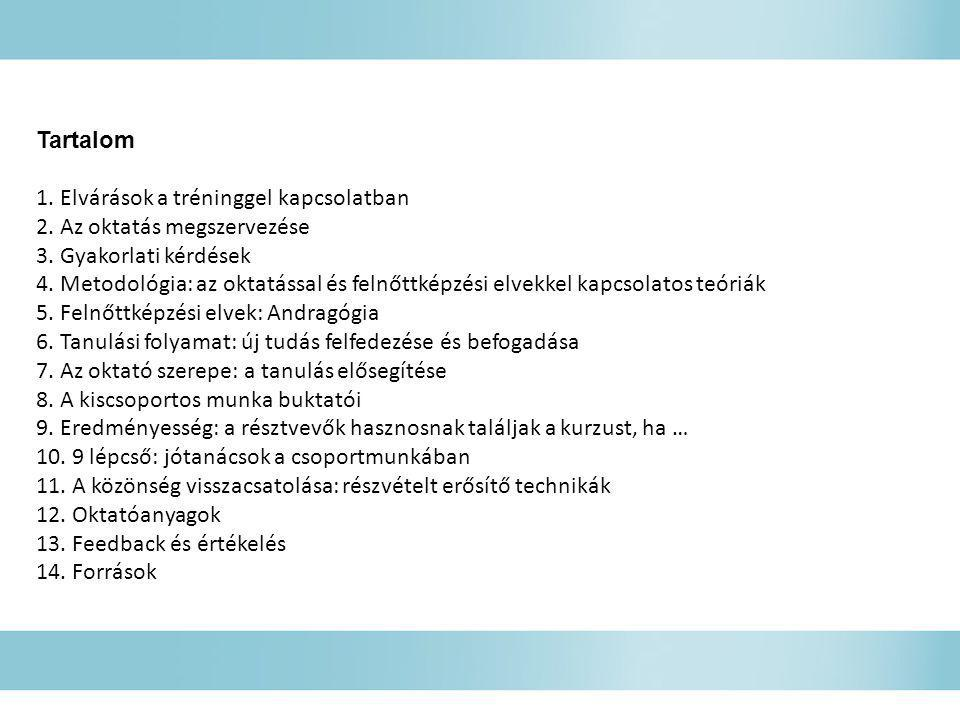 Tartalom 1. Elvárások a tréninggel kapcsolatban. 2. Az oktatás megszervezése. 3. Gyakorlati kérdések.