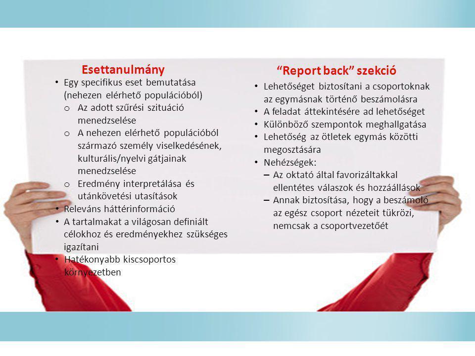 Esettanulmány Report back szekció