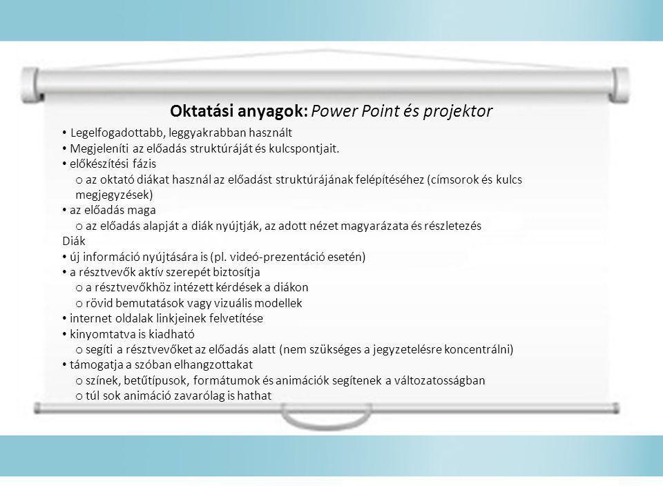 Oktatási anyagok: Power Point és projektor