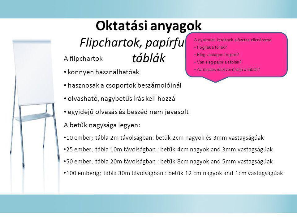 Flipchartok, papírfunkciós táblák