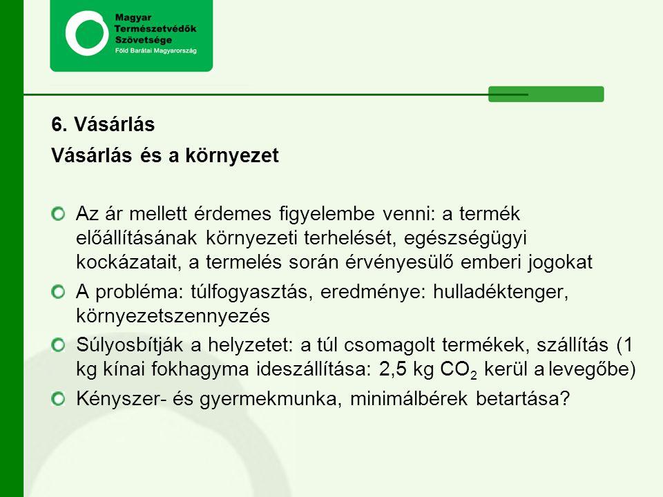 6. Vásárlás Vásárlás és a környezet.