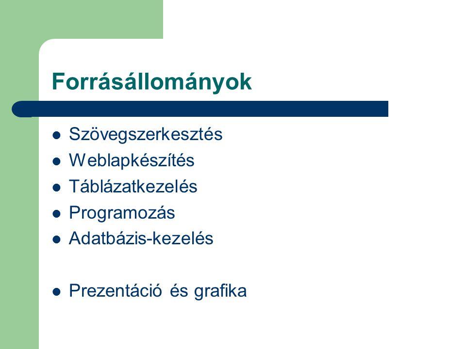 Forrásállományok Szövegszerkesztés Weblapkészítés Táblázatkezelés