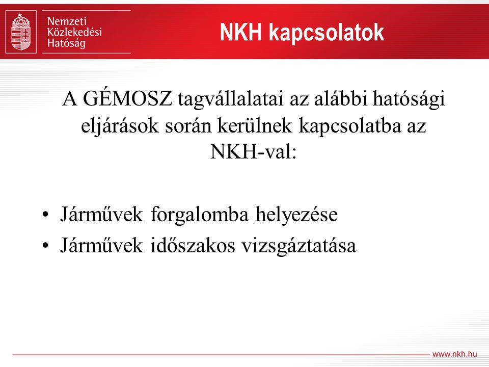NKH kapcsolatok A GÉMOSZ tagvállalatai az alábbi hatósági eljárások során kerülnek kapcsolatba az NKH-val: