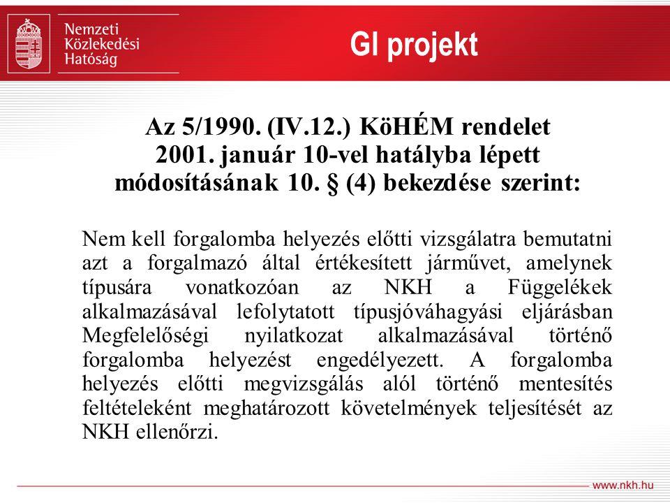GI projekt Az 5/1990. (IV.12.) KöHÉM rendelet 2001. január 10-vel hatályba lépett módosításának 10. § (4) bekezdése szerint: