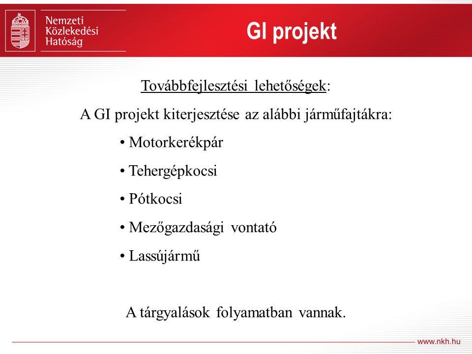 GI projekt GI projekt Továbbfejlesztési lehetőségek: