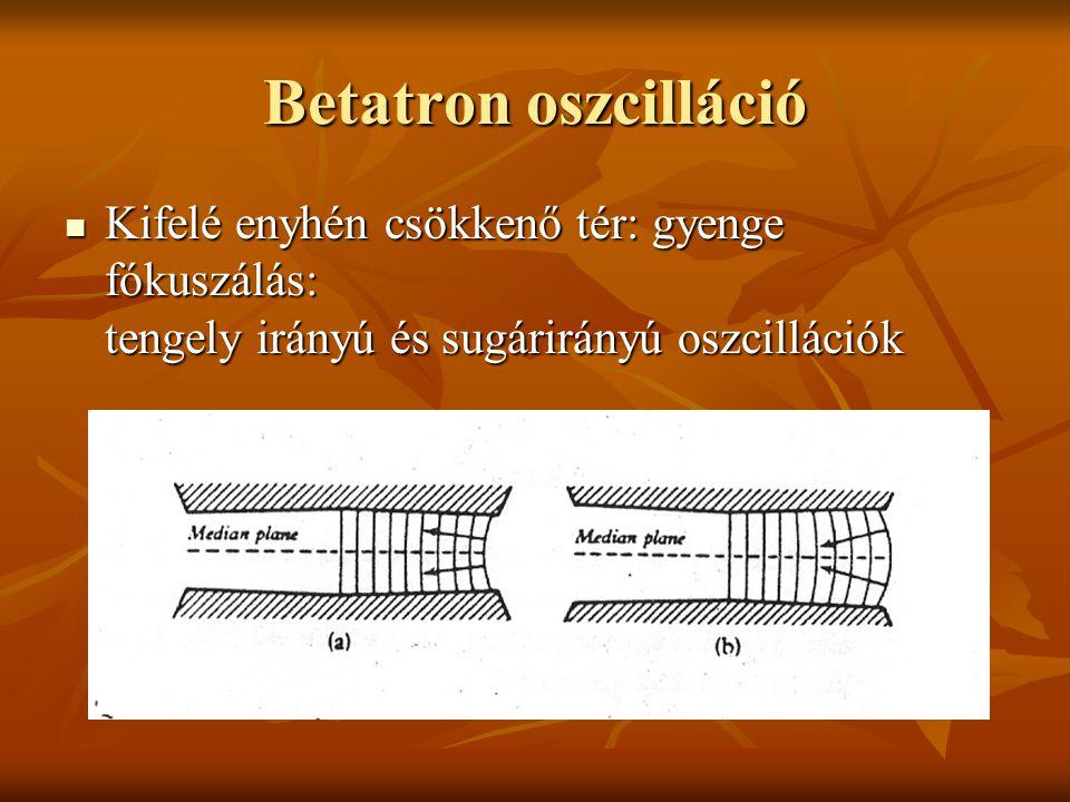 Betatron oszcilláció Kifelé enyhén csökkenő tér: gyenge fókuszálás: tengely irányú és sugárirányú oszcillációk.