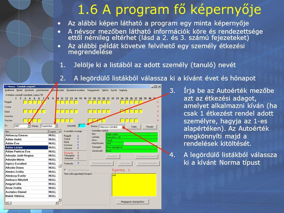 1.6 A program fő képernyője