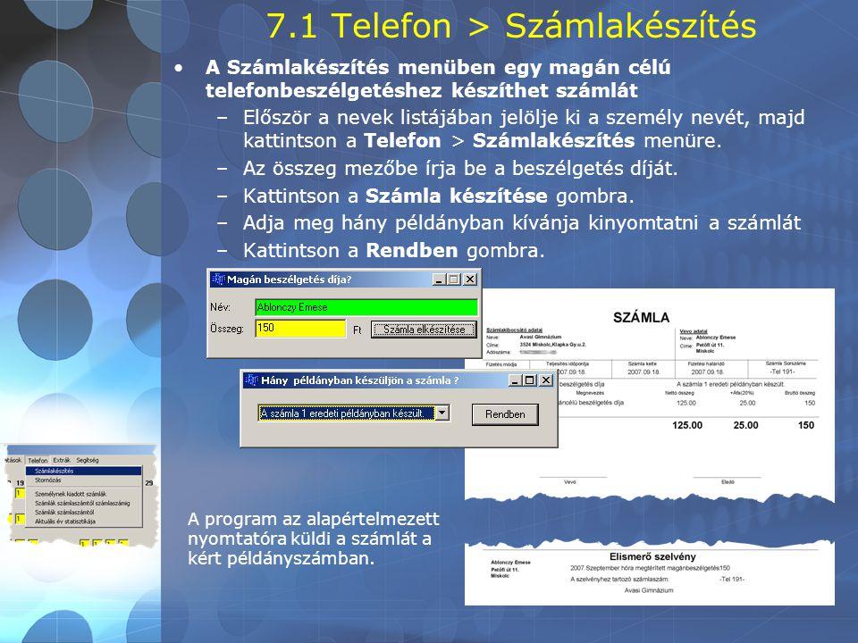 7.1 Telefon > Számlakészítés
