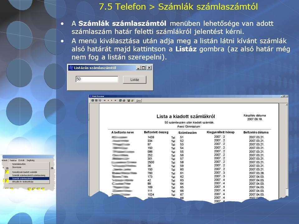 7.5 Telefon > Számlák számlaszámtól