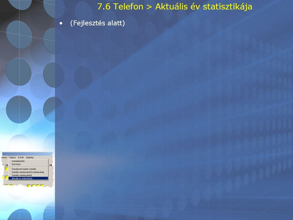 7.6 Telefon > Aktuális év statisztikája