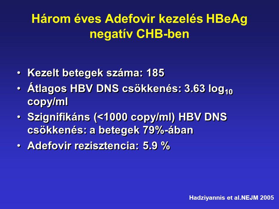 Három éves Adefovir kezelés HBeAg negatív CHB-ben