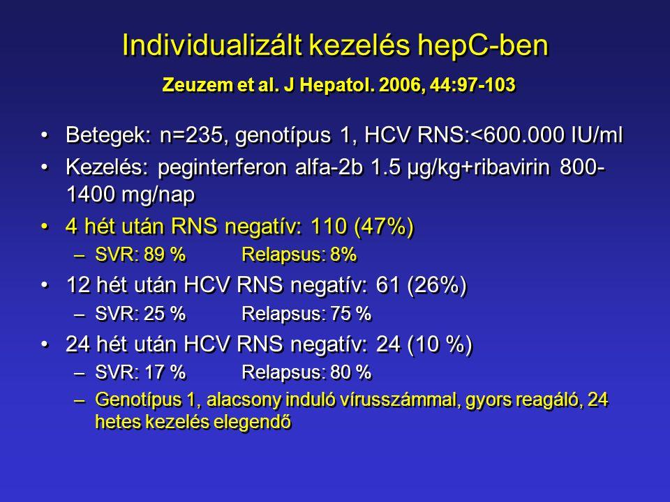 Individualizált kezelés hepC-ben Zeuzem et al. J Hepatol