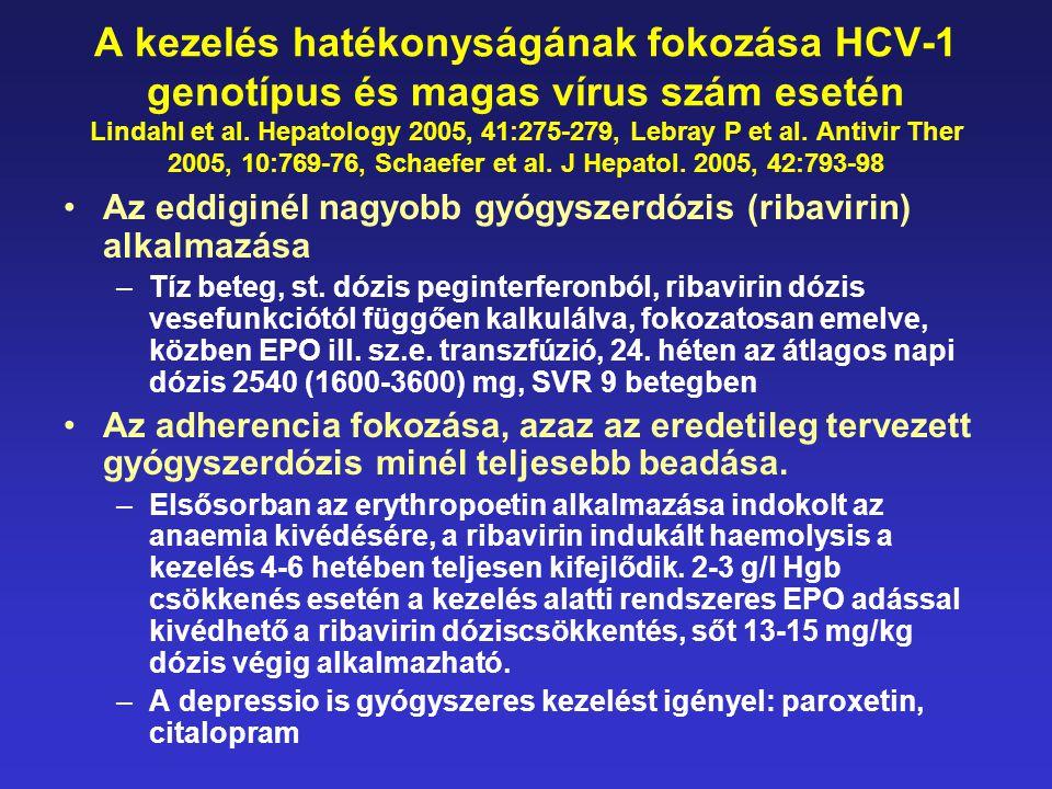 A kezelés hatékonyságának fokozása HCV-1 genotípus és magas vírus szám esetén Lindahl et al. Hepatology 2005, 41:275-279, Lebray P et al. Antivir Ther 2005, 10:769-76, Schaefer et al. J Hepatol. 2005, 42:793-98