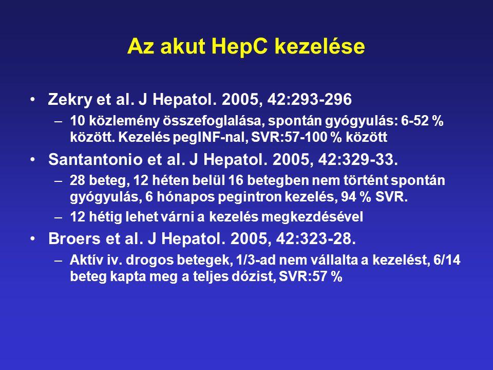 Az akut HepC kezelése Zekry et al. J Hepatol. 2005, 42:293-296