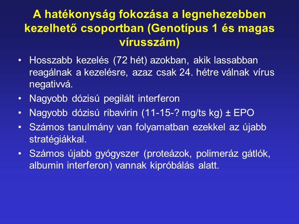 A hatékonyság fokozása a legnehezebben kezelhető csoportban (Genotípus 1 és magas vírusszám)