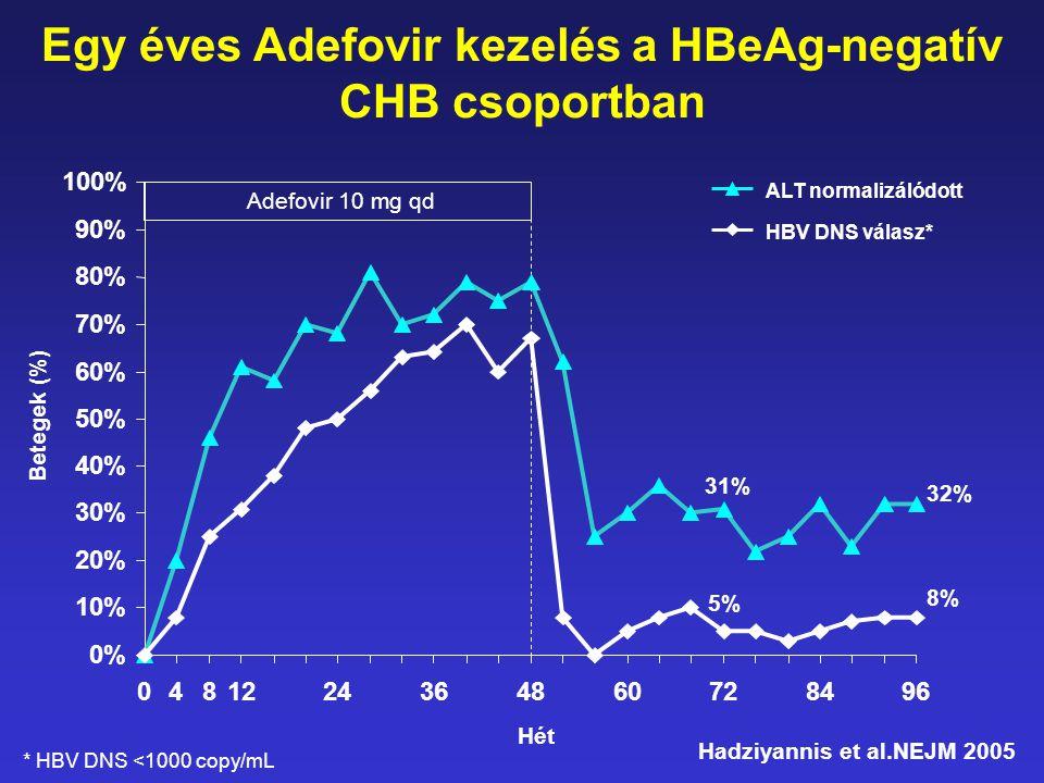 Egy éves Adefovir kezelés a HBeAg-negatív CHB csoportban