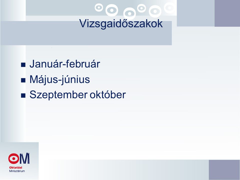 Vizsgaidőszakok Január-február Május-június Szeptember október