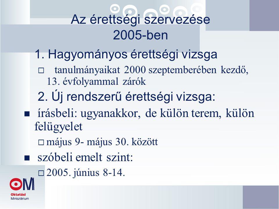 Az érettségi szervezése 2005-ben